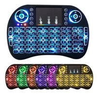 Wholesale Rii i8 backlight GHZ Wireless Media Keyboard Air Fly Mouse Remote Control Touchpad Handheld for TV BOX PC Laptop Tablet retail pack