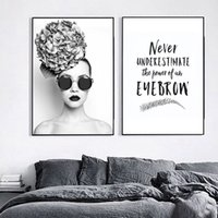 Wholesale wall poster for girls for sale - Group buy Flower Fashion Girl Eyeflash Wall Art Canvas Painting Nordic Posters And Prints Wall Pictures For Living Room Bar Decor