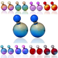 akrilik bilyalı küpeler toptan satış-Saplama Küpe Andy Renk Yuvarlak Top Küpe Çift Yan Shining Saplama Küpe Büyük Akrilik Küpe