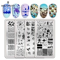 Wholesale ocean wave art resale online - BORN PRETTY Nail Stamp Plates Different Design Ocean Series Dolphins Conch Beach Wave Nail Art Template Tools Stencil