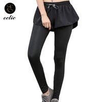 siyah ayaksız tozluklar toptan satış-Yansıtıcı Tayt Yan Stripes Kadınlar Sevimli Parlak Siyah Tayt Joggers Ayaksız Sahte Iki Adet Seksi Eğitim Pantolon