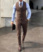 ingrosso giacca a tuta da due pezzi-Smoking di alta qualità da sposa di alta qualità Marrone Abiti da sposa uomo Due pezzi di usura dello sposo Abito formale economico (Vest + pantaloni) Custom Made