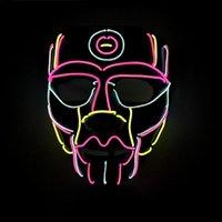 şapka karnavalı toptan satış-Eko-Dostluk Topu Maske El Aydınlık Hattı Maskesi Cadılar Bayramı Karnaval Korku Led Işıklı Maske Dans Parti Prop
