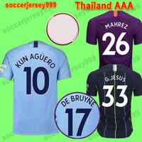 Wholesale uniform resale online - Thailand FC manchester De Bruyne MENDY soccer jerseys KUN MAN AGUERO city football shirt BERNARDO SILVA Camiseta uniforms