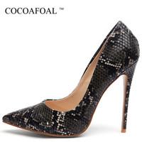 Wholesale white snakeskin high heels shoes resale online - Cocoafoal Snakeskin Woman High Heels Shoes Women s Heel Shoes Bridal Wedding Black White Party Plus Size Pumps Party Stiletto