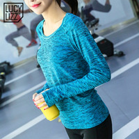 Wholesale dyed clothes pink online - Lucylizz Space Dyeing Sport Shirt Women Quick Dry Yoga Top Fitness Tops Running Shirt Activewear Gym Clothing Yoga T shirts