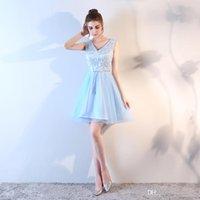 вышитое синее платье выпускного вечера оптовых-платье выпускной платье короткая юбка вышитая без рукавов талии многослойная короткая юбка спинки сексуальное платье PROM Небесно-голубой