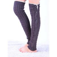 düğme bacağı toptan satış-NIBESSER 1 Pair Düğmesi Ile Yeni Kadın Dantel Örme Çorap Kış Diz Boyu Büküm Çorap Bacak Isıtıcıları Boot Isıtıcıları Avrupa Tarzı