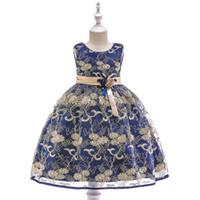 kelebek çiçekli kız toptan satış-Avrupa ve Amerikan çocuk giyim prenses etek kelebek düğüm çiçek çocuk elbise Altın Çizgi nakış kız pamuk elbise