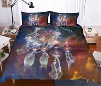 housses de couette bohème achat en gros de-Ensemble de literie 3D Dream Catcher Ensembles de literie couette 3pcs housse de couette imprimé plume bohème avec taie d'oreiller ensemble de couverture de lit
