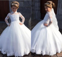 Wholesale graduation flower collar for sale - Group buy Flower Girl Dresses For Weddings Ball Gown Long Sleeves Tulle Appliques Lace Long First Communion Dresses