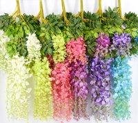 ingrosso giardino di rattan-7 colori 110 centimetri elegante fiore di seta artificiale glicine fiore vite rattan per giardino casa decorazione di nozze forniture
