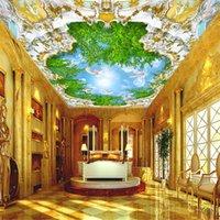 mavi ağaç boyama toptan satış-3D özelleştirilmiş Avrupa tarzı tavan duvar kağıdı saray yeşil ağaç mavi gökyüzü boyama su geçirmez duvar ev geliştirme duvar kaplaması