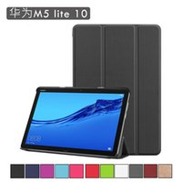 Wholesale leather case for huawei mediapad resale online - For Huawei MediaPad M5 Lite M5Lite BAH2 W19 Tablet Case Custer Fold Folio Stand Bracket Flip Leather Cover