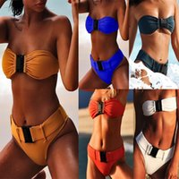 0451047f91a07 One-shoulder Buckle Bikini Nylon Sexy Backless Swimsuit Two Pieces Woman  Bathing Suits Swimwear Wading Exercise With Chest Pad A0746