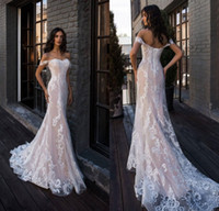 ingrosso elegante abito di rossore-2019 elegante blush rosa sirena abiti da sposa al largo della spalla pavimento lunghezza abito da sposa in pizzo abiti da noiva abiti da sposa su misura