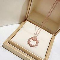 Wholesale rose gold plated fashion necklace online - luxury designer jewelry women necklaces Vine wreath rose diamond pendant k gold necklace fashion accessory gift