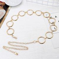 ingrosso cinture di vita in metallo per le donne-2019 Fashion Girls Metal Waist Chain Cintura placcata in oro Decorazione Cintura per abiti Donna Cerchio Cinture in metallo con cinturino in metallo