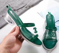 nuevos tacones de verano al por mayor-Nuevas mujeres de la moda de verano Sencillo de cuero Suave Suave Cómodo de punta abierta Transparente Sandalias de tacón áspero de las mujeres Zapatillas L3302