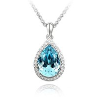 Wholesale swarovski water drop pendant necklace resale online - fashion Woman jewelry Ornaments Using Swarovski Elemental Crystal Necklace Simplicity alloy Water drop Pendant Necklaces
