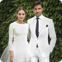 beyaz fildişi damat smokinleri toptan satış-Yaz Plaj Custom Made Smokin Beyaz Fildişi Erkek Takım Elbise Düğün İyi Erkek Blazer Rahat Damat Groomsmen Parti Giymek 2 Parça Ceket + Pantolon