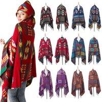 chal tibet al por mayor-WELOVCHO Lujo Bohemian National Vintage Shawl Mujeres Poncho Capa Con Gorro de Invierno Engrosamiento tibio bufanda tibetana con abrigo de sombrero