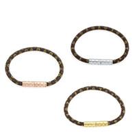 Wholesale vintage engagement set resale online - Classic vintage pattern leather bracelet Brand designer jewelry unisex fashion couple bracelet High quality titanium cuff bracelet