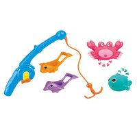 Wholesale fishing bath toys resale online - 5pcs Baby Fishing Toys Funny Shower Summer Water Bath Bathroom Fishing Toy for Beach Kid Play Swimming Pool with gift box