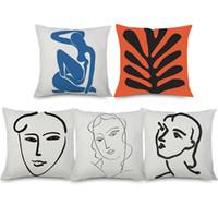 tablo yastık kılıfları toptan satış-Henri Matisse Kroki Portre Resimleri Yastık Avrupa Modern Ev Dekoratif Yastık Örtüsü Kapakları Keten Yastık Kılıfı 45X45 cm
