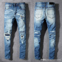 Wholesale flying pan for sale - Group buy Men jeans AMIRI brand jeans mens casual hole shorts washed old patch pants TOP quality embroidery denim pants feet pants man brand pan F