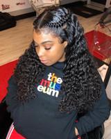 длина волос для женщин оптовых-Бразильский глубокий парик волны с париком волос младенца 100% рука связала парик шнурка человеческих волос средней длины женщин длинный