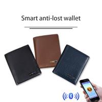 akıllı çanta toptan satış-Akıllı Cüzdan Erkekler Hakiki Deri Anti Kayıp Akıllı Bluetooth Çanta kart Sahipleri Para Saklama Çantası IOS Android Tracker DHL için Suit