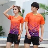 Wholesale li ning badminton resale online - New Li Ning badminton suit men s and women s quick drying Summer Short Sleeve Top Shorts tennis table tennis match sportswear