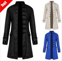 imagens de nice dresses venda por atacado-2018 estilo quente de mangas compridas jacquard dos homens casaco medieval dos homens casaco jaqueta no longo estilo retro stand-up collar frete grátis