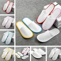 Wholesale disposable shoe slippers online - Anti slip Disposable Slippers Travel Hotel SPA Home Guest Shoes Multi colors one time Breathable Soft Slippers IB335