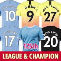 xl 125 venda por atacado-19 20 Manchester city camisa de futebol 2019 2020 camisa de futebol 125º aniversário 125 KUN AGUERO DE BRUYNE GESUS BERNARDO MAHREZ SANE RODRIGO