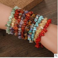 Wholesale red natural stones bracelets for sale - Group buy Natural crystal crushed stone bracelet cheap bracelet gifts folk style hand woven bracelet new jewelry