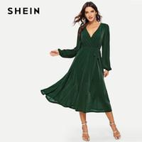 cca5e09da9 SHEIN Green Surplice Neck Belted Glitter Longline Maxi Dress Long Sleeve V  Neck High Waist Long Plain Dresses 2019 Women Dress on sale