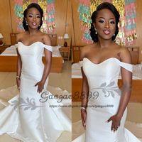 vestido modesto moderno venda por atacado-Princesa moderna cetim vestidos de noiva sereia 2019 modesta fora do ombro africano simples trump zipper voltar vestido de noiva de noiva