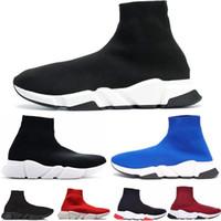 nuevas botas de velocidad al por mayor-2019 de alta calidad zapatos casuales unisex planos de moda calcetines botas mujer nuevo Slip-on tela elástica Speed Trainer Runner Mans al aire libre