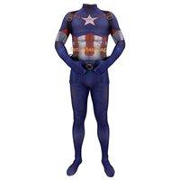 ingrosso collant capitano americano-Costume Cosplay lycra Spandex Zentai Tight Avengers 4 Costumi anime Capitan America Costumi anime Halloween Anime Costumi Bambini Adulti