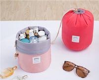 naylon depo toptan satış-eonpin Su Geçirmez silindir kozmetik çantası naylon İpli çanta yuvarlak seyahat tuvalet Saklama çantası