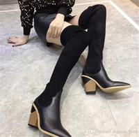 camurça elástica sobre botas de joelho venda por atacado-Mulheres meias botas de 24 polegada sobre o joelho botas de malha sexy marca de moda de camurça elástica coxa alta meados de inverno botas de salto 2019 Com caixa
