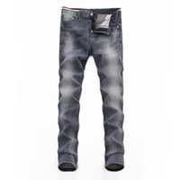 neue skinny jeans trend männer großhandel-Herren Jeans Bottoms Tooling Denim 2019 Neuheiten Trend Slim Fit Komfortable Mode Dreifarbige Streifen am Gürtel