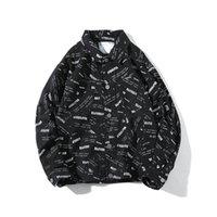 botões do revestimento de brim venda por atacado-Carta Homens De Descarga De Impressão Demin Jaqueta Botão Para Baixo Jean Casaco De Bolso Do Vintage Azul Preto