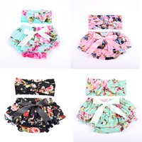 Wholesale panties infant for sale - Group buy 11 colors Baby floral printed bloomers with headband Toddler infant briefs bloomer PP pants underwear girls Panties kids boutique clothing