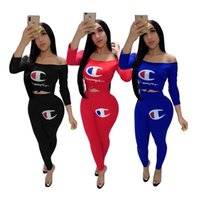 Wholesale long off shoulder tshirt for sale – custom Women Champions Long Sleeve Tracksuit Flat Off Shoulder Tshirt Pants Leggings Tights Piece Designer Outfit Summer StreetWear S XL C51404