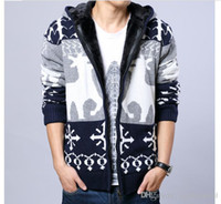 ingrosso cervi di cardigoni lavorati a maglia-Mens Winter Warm Hooded Giacche Red Grey Zipper Thick Cardigan Christmas Deer Knitted Cardigan Fashion