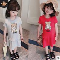 bebek elbiseleri resimleri toptan satış-Ünlü Marka 2019 Yaz kız çocuk giyim karikatür resimleri bebek giysileri T-shirt moda kız bebek elbise suit