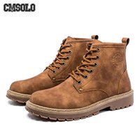 черные кружевные сапоги мужчины оптовых-CMSOLO  Boots British Style Lace-up Work Safety Ankle Boot For Men Adult Male  Boots Spring Autumn Winter Black New